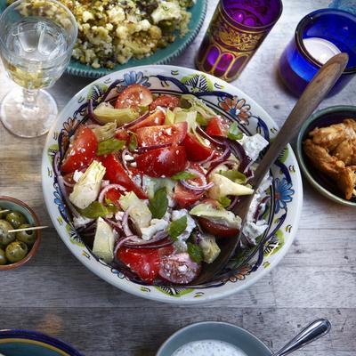 tomato salad with artichoke and feta