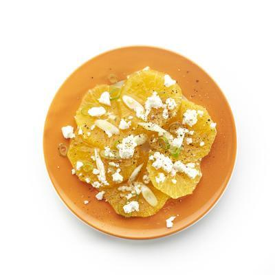 orange with spring onions and goat's cheese