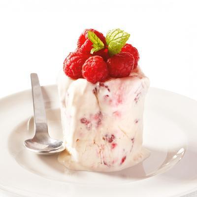 semifreddo of yogurt with raspberries