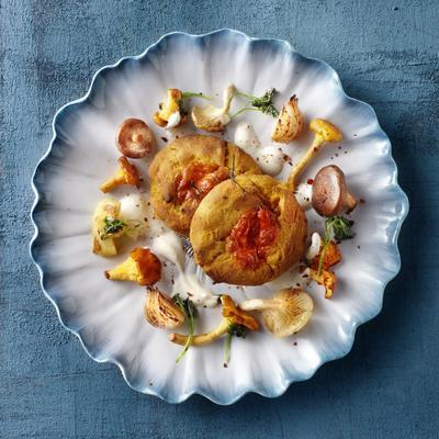 scones of sweet potato with mushrooms