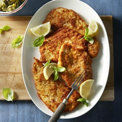 schnitzel with pesto and parmesan