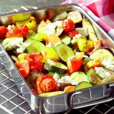 salad of roasted vegetables with cherry tomato