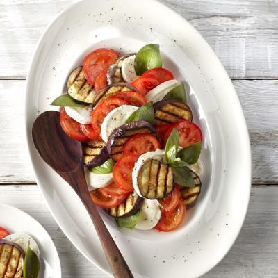 salad of grilled eggplant and mozzarella