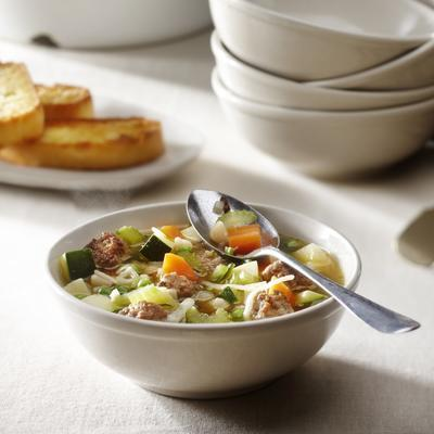 minestrone with parmesan balls