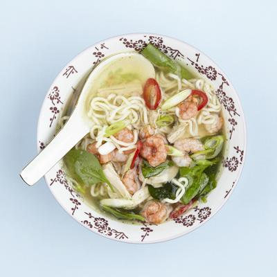 soup with shrimp and lime