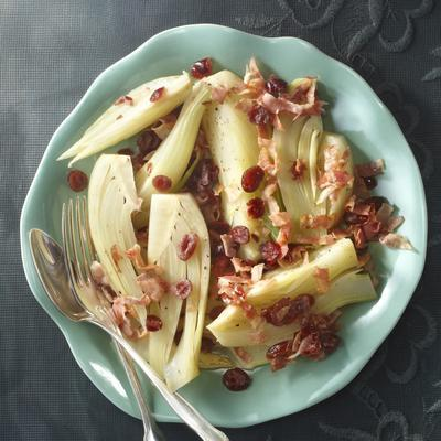 stewed fennel with pancetta and cranberries