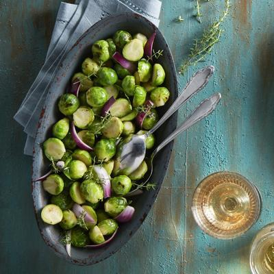 roasted Brussels sprouts with red onion and thyme