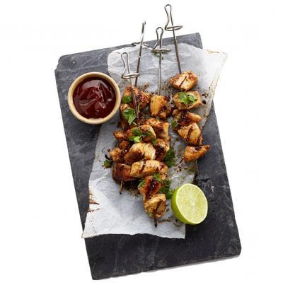 roasted chicken skewer with lime and coriander