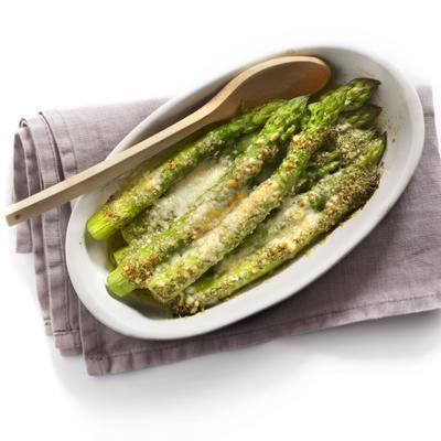 roasted asparagus with pesto butter and parmesan