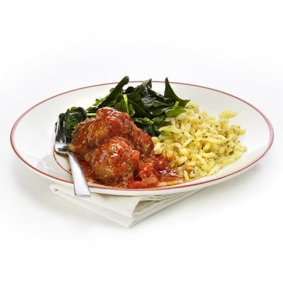 meatballs with cheese and stir-fried spinach