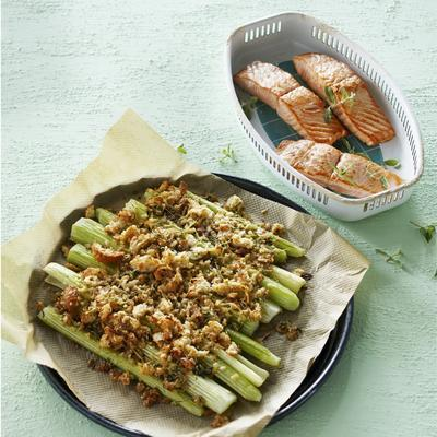 scalloped celery with thyme and cheese