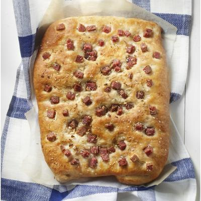 focaccia with salami and rosemary