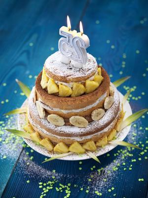 party cake with chocolate mousse and banana pineapple cream