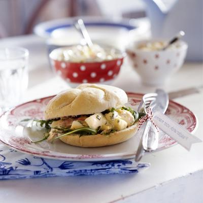 egg salad with smoked salmon and dill