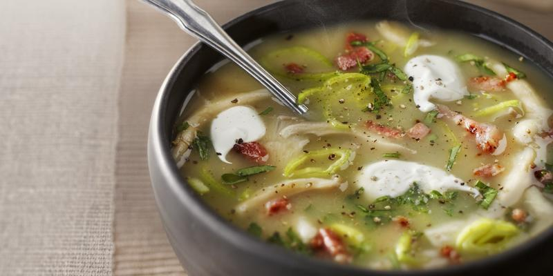 potato leek soup with oyster mushrooms and bacon
