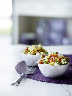 rice salad with feta and coriander