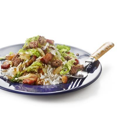 rice with green cabbage