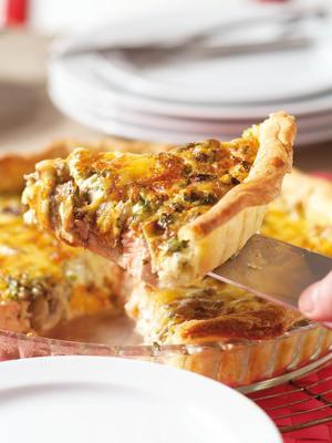 quiche with salmon and mushrooms