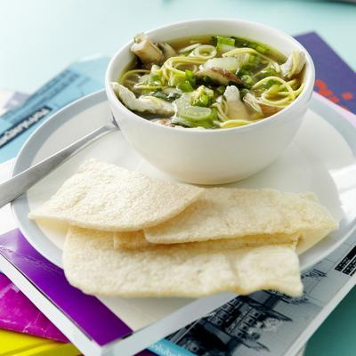 oriental chicken soup with noodles and bok choy