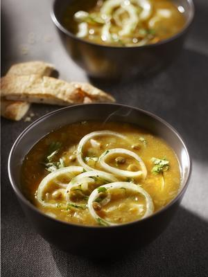 lentil soup with chicken and coriander