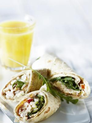 crunchy wrap with creamy smoked chicken salad