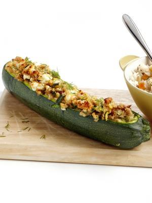 stuffed courgettes with nuts and feta