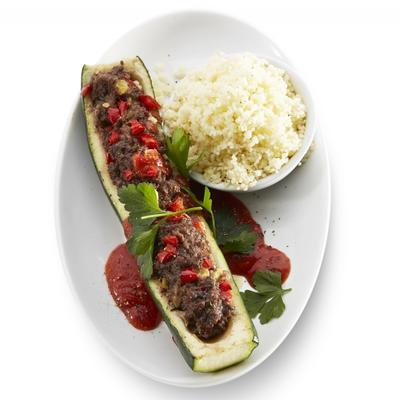stuffed zucchini with minced meat and paprika