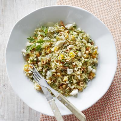 couscous salad with apricots and goat's cheese