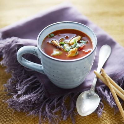 bloody mary soup with mussels