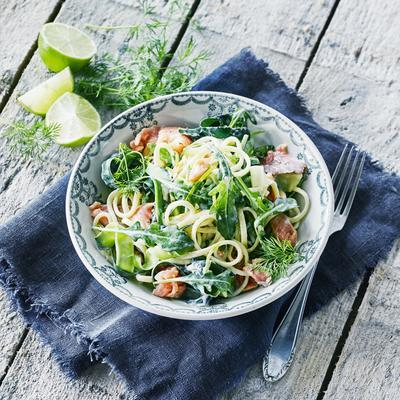 linguine with zucchini, salmon and lemon
