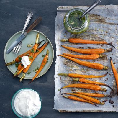 caramelised carrot with hanging and parsley dressing