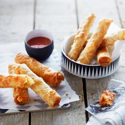 filo cheese rolls with chili sauce