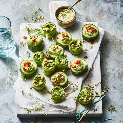 cucumber snacks with avocado