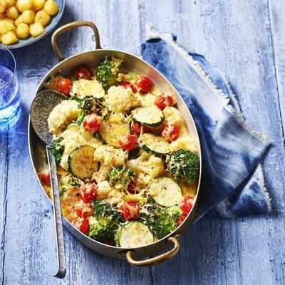 vegetable gratin with herb butter jars