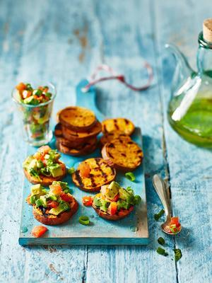 grilled sweet potato with avocado lime salsa