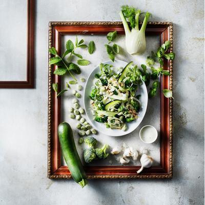 green salad with fresh yoghurt dressing
