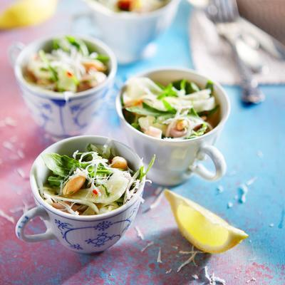 bean-fennel salad with ham and basil oil