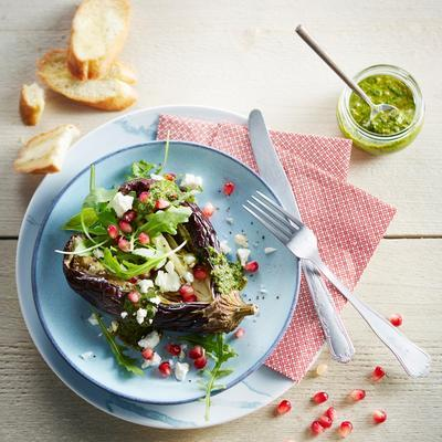 puffed aubergines with salsa verde, pomegranate and feta