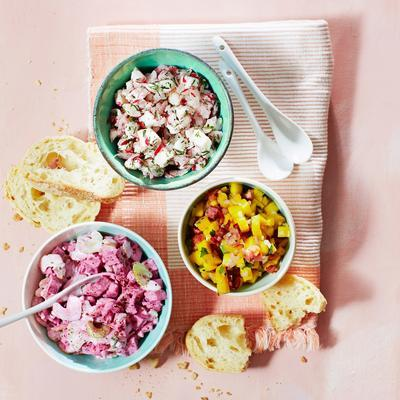 celeriac salsa with beetroot and spring onions