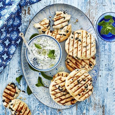 olive rolls with tzatziki