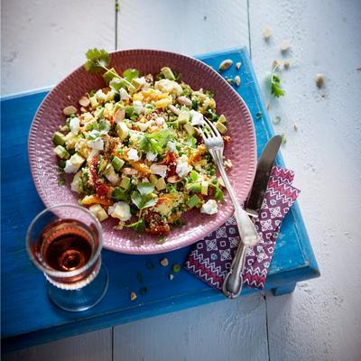 couscous salad with avocado and apricots