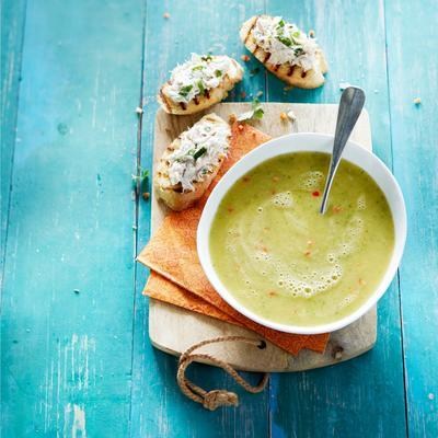 courgette soup with bruschetta and mackerel fries