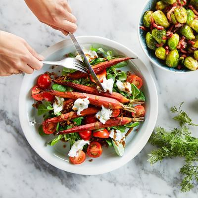 lentil salad with balsamic carrots