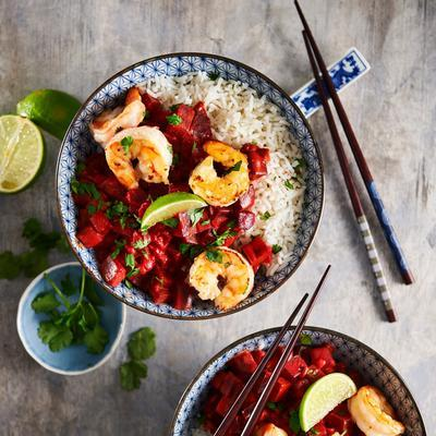 beet curry with shrimps