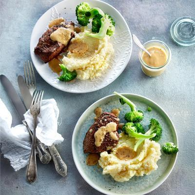 mashed potatoes with steak and broccoli