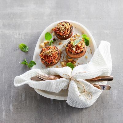 stuffed chestnut mushrooms with walnuts and macadamia