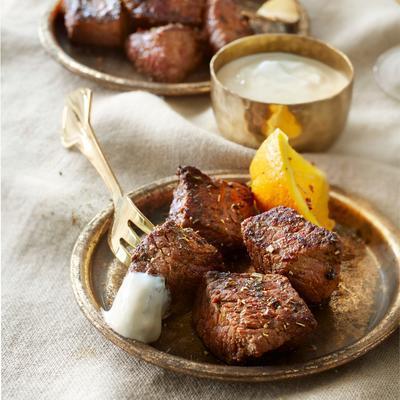 steak tips with orange-garlic sauce