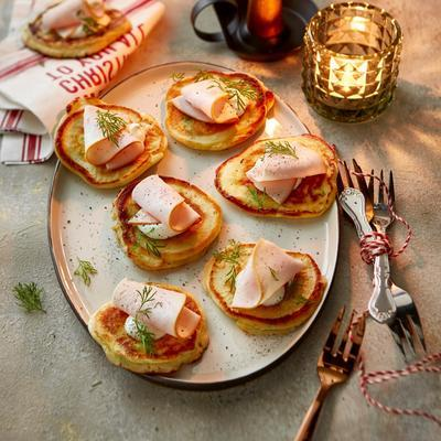 potato cookies with smoked chicken fillet