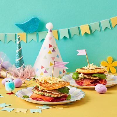 savory pancake 'club sandwich'