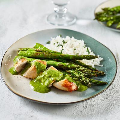 roasted chicken with chimichurri and green asparagus